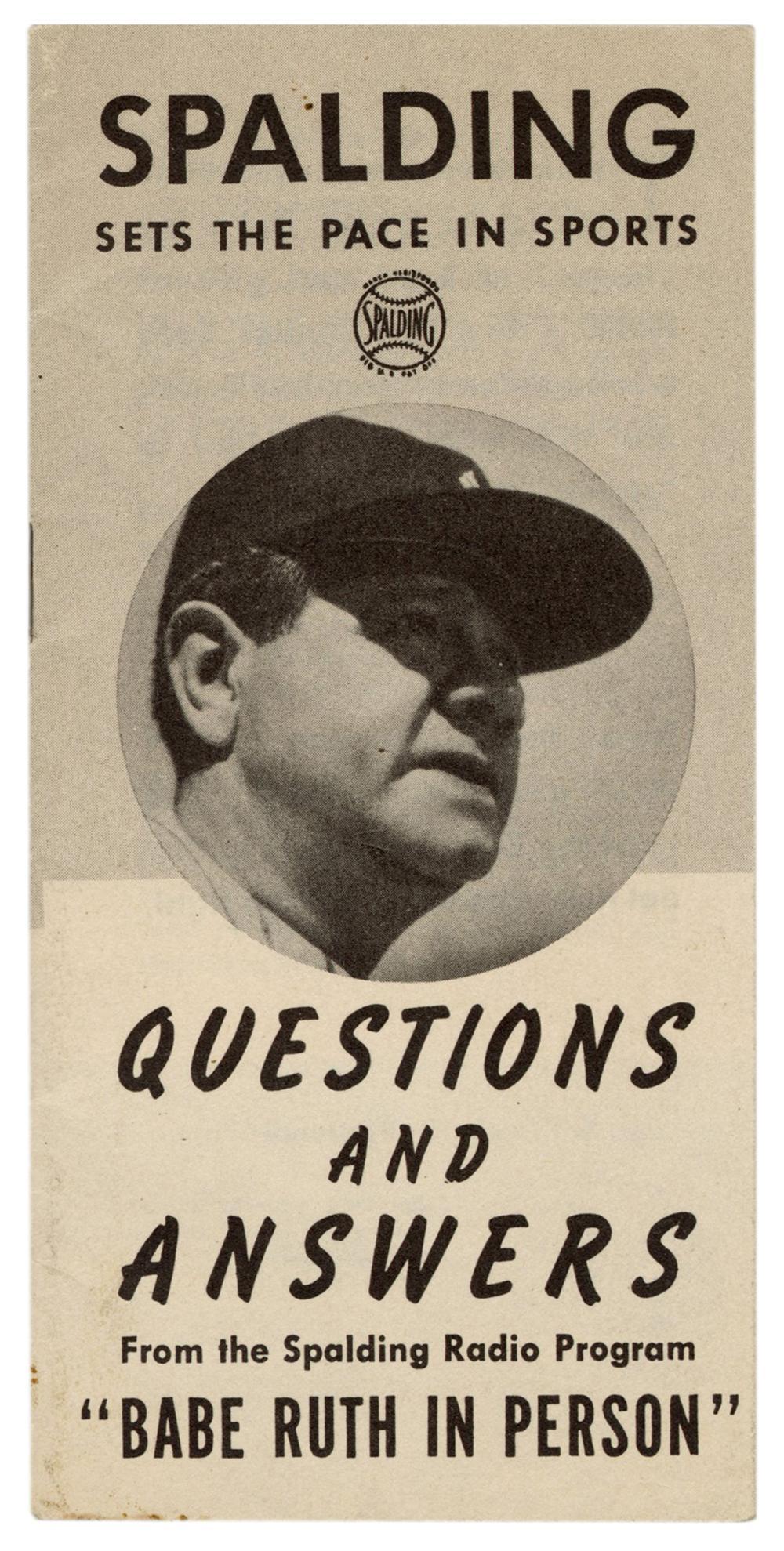 "[BASEBALL]. RUTH, GEORGE HERMAN ""BABE"" (1895-1948). SPALDIN..."