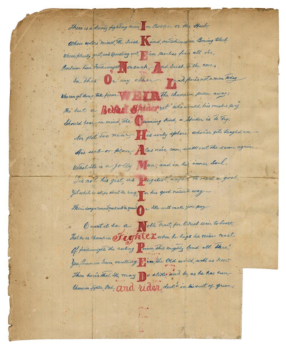 [BOXING]. WEIR, IKE (1867-1908). HANDWRITTEN POEM ABOUT IKE...