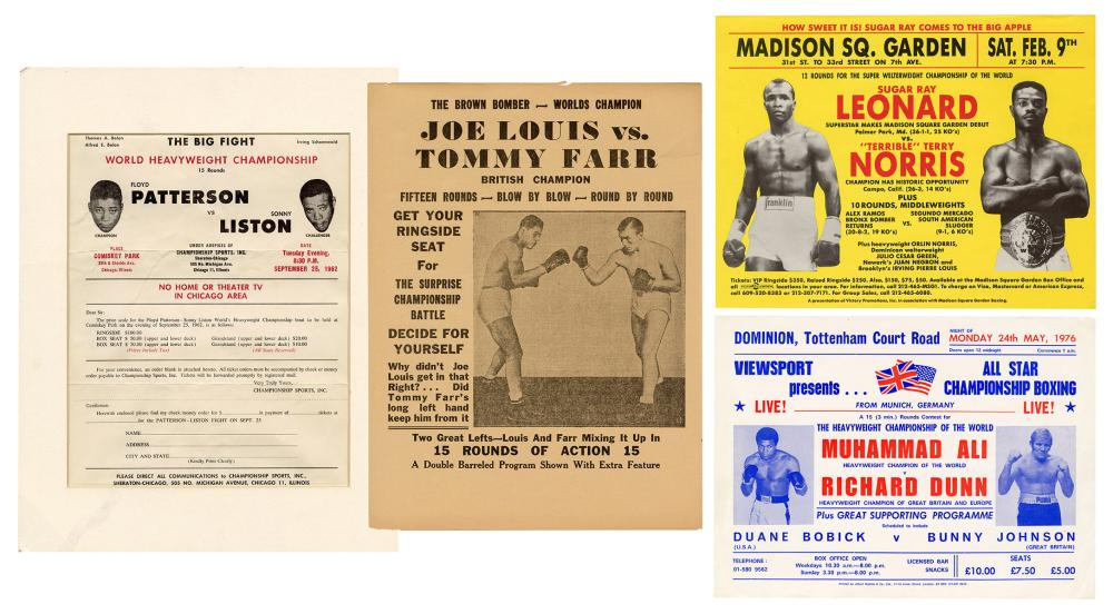 [BOXING]. A GROUP OF 4 BOXING ADVERTISEMENTS. 20TH CENTURY....