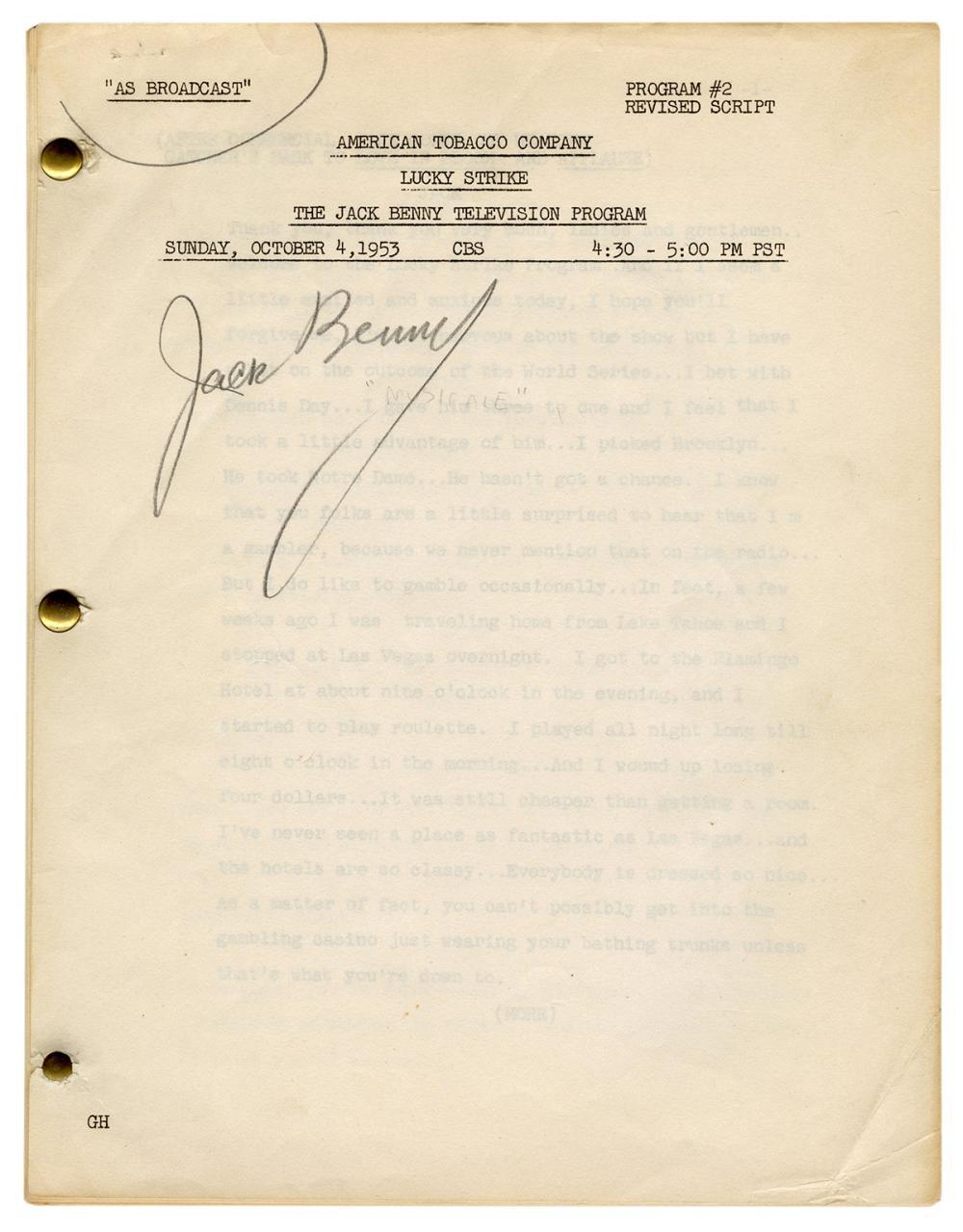 BENNY, JACK (1894-1974). SIGNED TELEVISION PROGRAM SCRIPT. ...