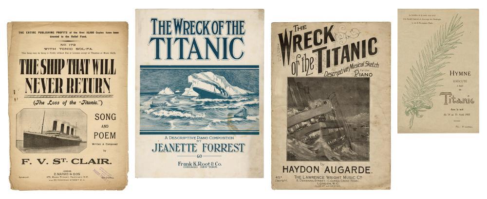 [RMS TITANIC]. FOUR PIECES OF TITANIC DISASTER SHEET MUSIC....