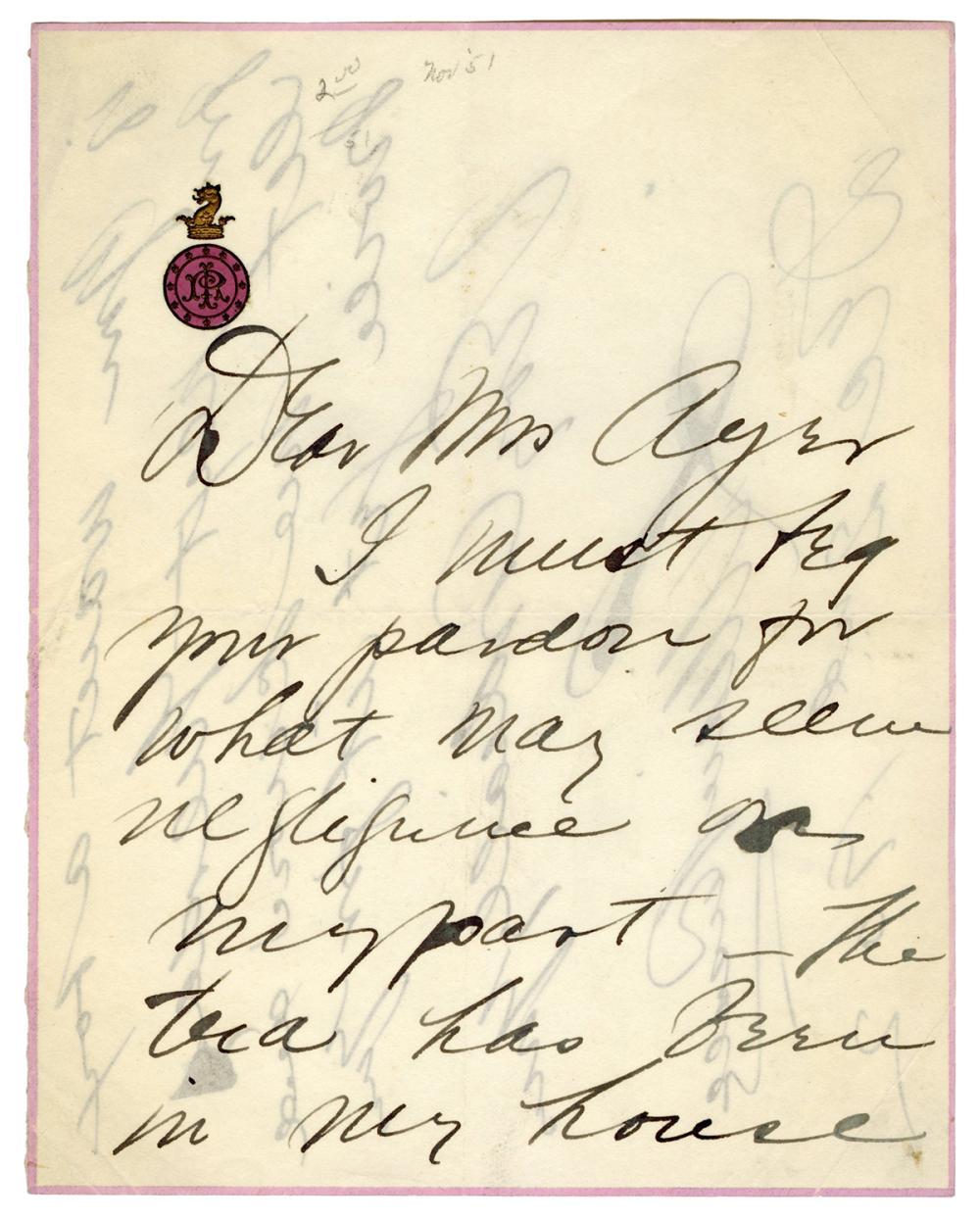 RUSSELL, LILLIAN (1861-1922). HANDWRITTEN AND SIGNED NOTE. ...