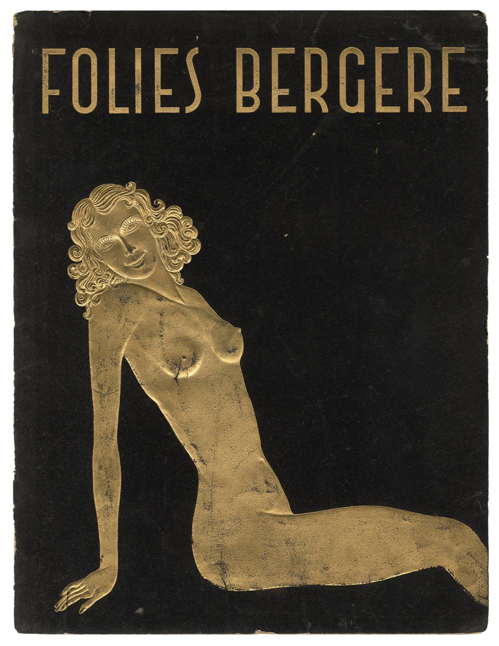 FOLIES BERGERE PROGRAM. PARIS, CA. 1930S. BLACK VELVET COVE...