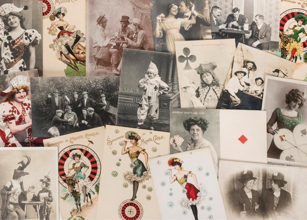 [GAMBLING]. A GROUP OF 18 PHOTOGRAPHS AND POSTCARDS. CONSIS...