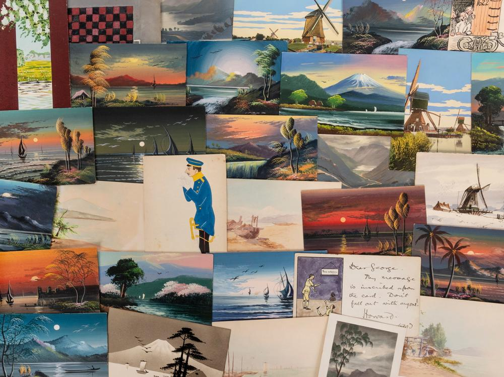 [HAND PAINTED]. A UNIQUE COLLECTION OF HAND PAINTED POSTCAR...