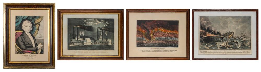 [CURRIER AND IVES]. A GROUP OF 4 LITHOGRAPHS. INCLUDING: GE...