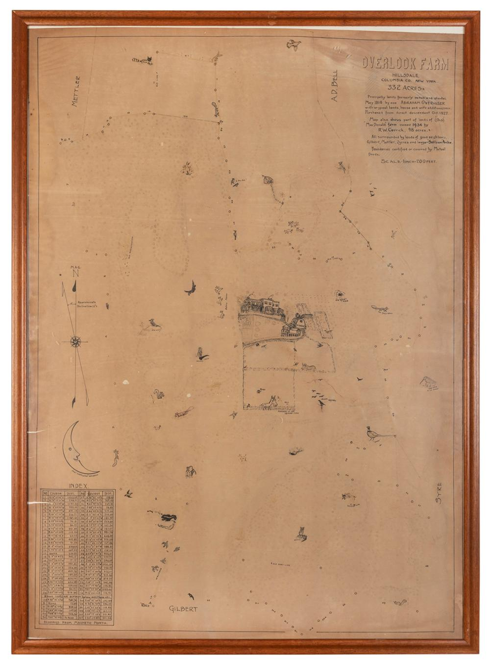 [MAP]. A HAND DRAWN MAP OF A FARM IN COLUMBIA COUNTY, NEW Y...