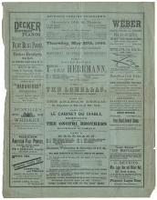 Haverly?s Theatre Program. Herrmann, Alexander and Adelaide.