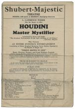 Shubert-Majestic Theatre Program. Houdini, Harry (Ehrich Weiss).