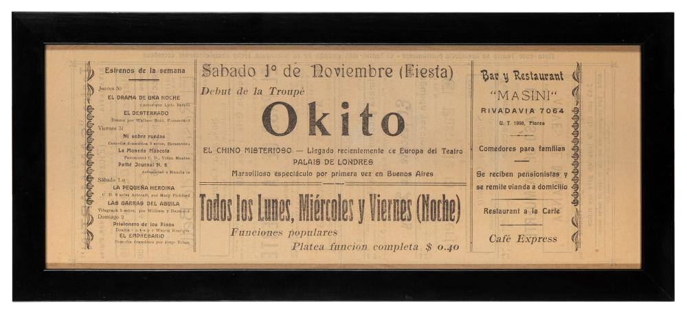 OKITO (TOBIAS BAMBERG). OKITO SPANISH LANGUAGE BROADSIDE. B...