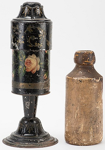 Charmed Bottle and Ribbons. London: Joseph Bland, ca. 1880. A japanned toleware canister is opened and a quantity of sweets are distributed to the audience from inside. The lid is clamped on, then removed. Now the canister is full of silk. Repeated