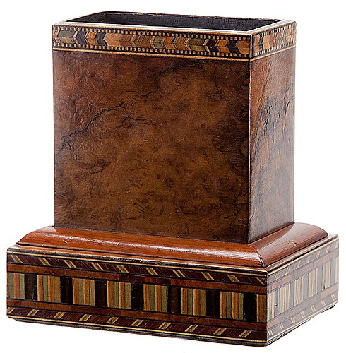 Jumping Card Box. English or German, Joseph Bland [?], late nineteenth century. A card is chosen and returned to the pack, which is dropped in a finely veneered wooden holder. A moment later, the chosen card jumps out of the holder as if propelled by
