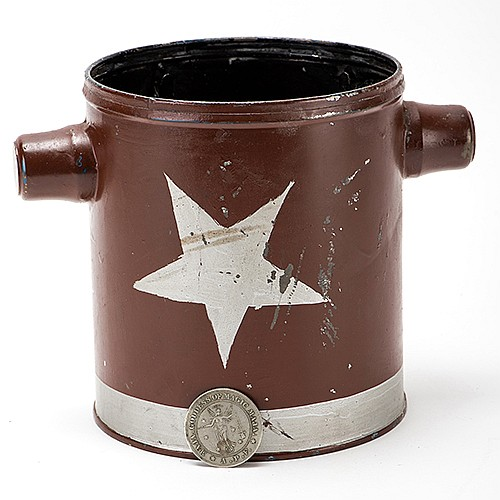 Coin Pail. Martinka & Co. [?], ca. 1880s. Early toleware pail painted with silver star shapes, specially prepared for the magician to drop inside a stream of coins from mid-air. Including a sleeve of Felsman ñGoddess of Magicî palming coins. 6 x 7î.