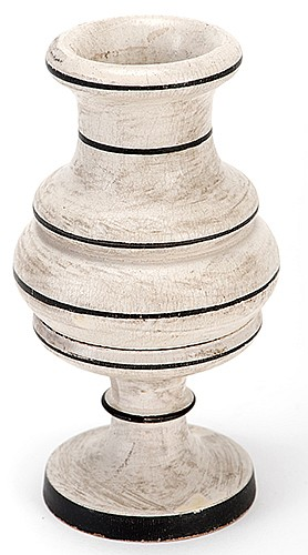 Dice Vase. European [?], ca. 1900. Small turned wooden vase allows the performer to determine what numbers a spectator will roll on dice dropped inside. 4 _î high. With three dice. Unusual white finish with black trim.