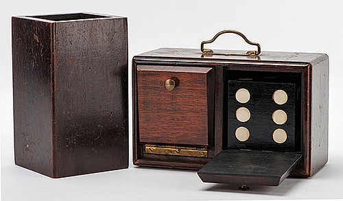 Die Box and Chimney. Circa 1910. Handsome and sturdy hardwood box with brass fittings. A wooden die vanishes from the box and reappears in a wooden chimney some distance away, which had been shown empty a moment before. Handsome box 8 _ x 4 x 5î.