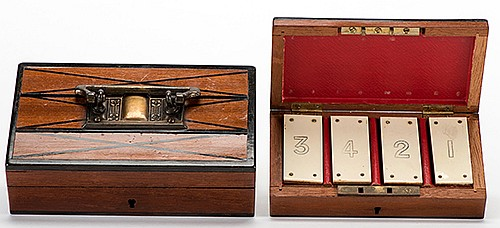 Divination Box. Hamburg: Carl Willmann, ca. 1900. Four numbered blocks are arranged in a box by a spectator. This box is locked in another, larger box. Even so, the magician knows their order. Handsomely constructed. Largest box 6 x 3 _ x 1 _î.