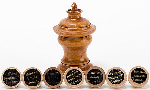 Pedestal of Divination. London: J. Bland, ca. 1890. One of seven wooden chips bearing a paper label is concealed in a turned wooden pedestal. The other six are hidden from view. The mind reader instantly divines the phrase on the hidden chip.