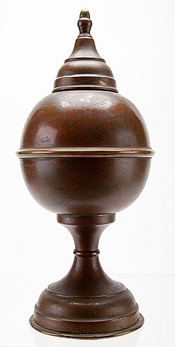 Fire Globe. English or German, late nineteenth century. Polished brass vase with removable top, which restores a handkerchief to its original state after it has been burned to ashes. 9î high. Tarnished, but structurally sound.