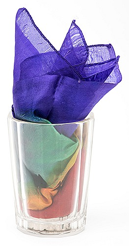 Flash Silk Glass. Hamburg: Carl Willmann, ca. 1915. At the snap of the magicianÍs fingers, a silk handkerchief appears in the heavy cut crystal glass shown empty a moment before. Nickel plated gimmick, glass 4î high. Fine. Later manufactured by