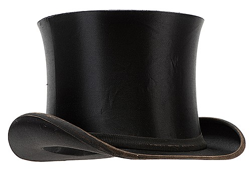 MagicianÍs Collapsible Top Hat. German, ca. 1900. Black silk top hat with internal spring mechanism allowing it to be smoothly and easily compressed and uncompressed. 12 x 9 x 6î. Stamped inside by the hatter. Lightly worn around brim.