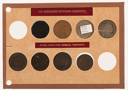 Collection of Trick Coins said to be the Property of Alexander Herrmann. 1890s. Group of twelve specially prepared or struck coins including three with pins soldered to their versos, a fine Coin Through Hat constructed from an 1895 U.S. half dollar,