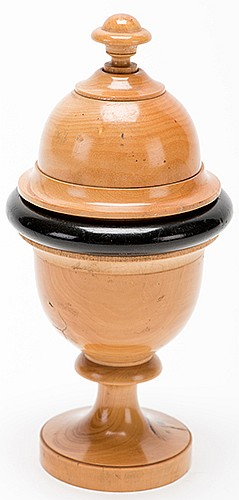 Millet Vase. European, ca. 1900. Handsome boxwood vase from which a quantity of millet vanishes, then reappears. Double-plunger gimmick. 6 _î tall. Chipping to base, good working condition.
