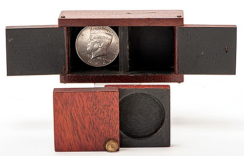 Sliding Coin Box. Philadelphia: Carl Brema & Son, ca. 1930s. Mahogany box with brass fixtures, and smaller matching coin box, for a die-box type of effect in which a half dollar vanishes from the sliding box and reappears in the other hand-held box.