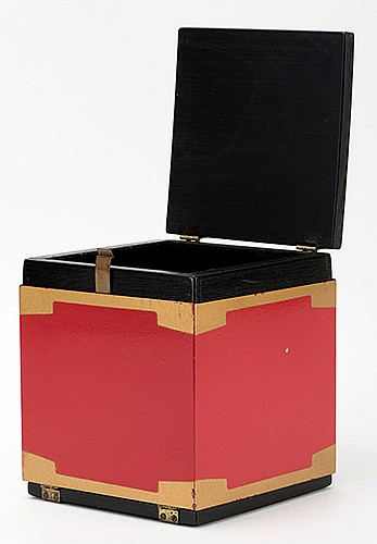 Can-Can Switch Box. Los Angeles: Owen Brothers, ca. 1955. Attractive chest changes, produces, or vanishes handkerchiefs or other small objects placed inside. Wooden and metal construction. 4 _ x 4 _ x 5 _î. Minor wear to finish. Uncommon.