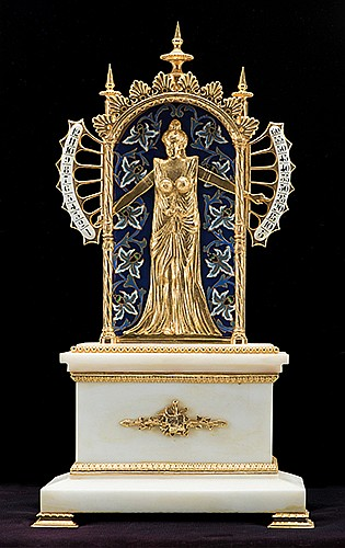Bras En LÍAir Figural Novelty Clock. Circa 1983. Modern recreation of the classic French ñarms in the airî design, the hands of the beautiful maiden moving up and down to indicate the hours and minutes. Fine decorative gilt brass ornaments and