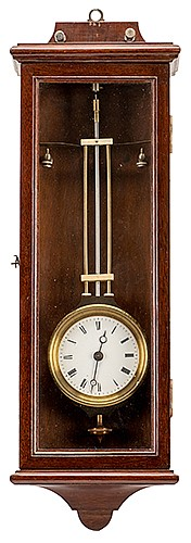 Robert-Houdin Electric Pendulum Clock. French, ca. 1858. Outstanding example of this electric-powered clock devised by the Father of Modern Magic, Jean Eugene Robert-Houdin, and produced in conjunction with the firm Detouche. The interior of the