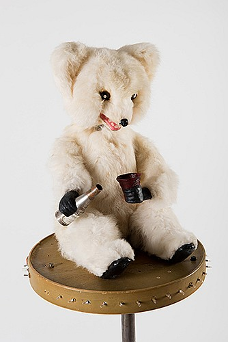 Del Ray (Delbert Raymond Petrosky). Butch the Bear. Circa 1965. One of several incarnations of this faux automaton bear used by Del Ray in his famous stage act. Throughout the magicianÍs performance, he regularly produced glasses of wine from thin
