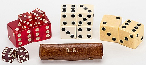 Del Ray (Delbert Raymond Petrosky). Collection of Del RayÍs Dice. Comprising a dozen vintage jumbo and regular dice of various sizes and compositions, accompanied by Del RayÍs personally monogrammed English pigskin dice wallet.