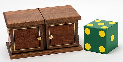 Rainbow Die Box. Cashmere: Magic House of Babcock, ca. 1995. A yellow and red die transpose locations in a small box, then change to blue and green dies. Includes two shells and two solid dice; box constructed with two double doors. Dice 3î.
