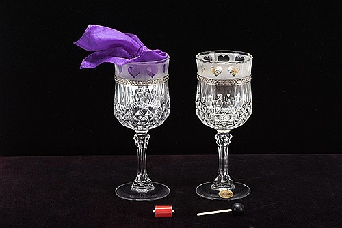 Flash Vanish Crystals. Arizona: Richard Gerlitz, ca. 1999. A silk handkerchief visibly melts away when placed in one crystal goblet, only to reappear in a separate vessel moments later. With custom padded carrying case an all accessories. One of six