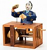 Japanese Conjurer Automaton. Paris: Pierre Mayer, ca. 2004. Handmade wooden automaton with exposed works. As the crank is turned, the cup in the conjurerÍs hands descends, and the magician waves the fan in his other hand. The cup is raised and the