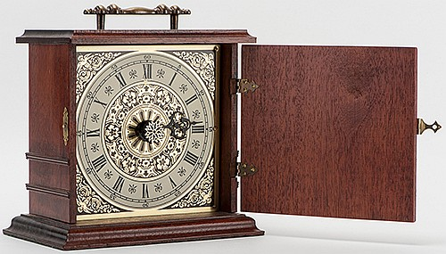 Spirit Time. Tulsa: Bob Kline, ca. 1989. A clock is set to any time while the magicianÍs back is turned, yet he knows the time instantly. Solid mahogany case clock measures 6 _ x 3 _ x 7 _î. One of 24 units manufactured.