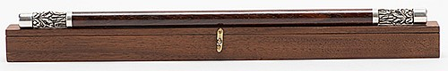 Kikkoman Magic Wand. Pasadena: Carl Williams Custom Magic, 1994. Crafted from cocobolo wood with matching pure silver tips, which represent the Chinese magician Kikkoman. With felt-lined wooden carrying case and care cloth. Case hallmarked. The