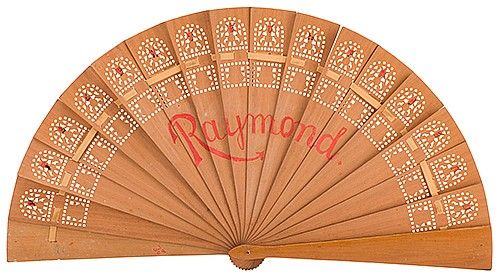 Raymond, Maurice (Morris Raymond Saunders). Breakaway Fan. Circa 1910. Handsome and delicate fan of carved wood. The fan alternately works and breaks into separate pieces in the hands of the magician, at his command. Hand painted with the phrase