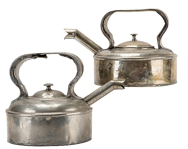 Raymond, Maurice (Morris Raymond Saunders). The Great RaymondÍs Enchanted Teakettle. Circa 1910. From a seemingly ordinary tea kettle Raymond could pour _ as if by magic _ any drink called for by members of his audience. Two nickel-plated kettles, 6
