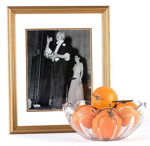 Raymond, Maurice (Morris Raymond Saunders). RaymondÍs Orange Production Bowl. Circa 1930. The main prop used by Raymond to open his show. A cut glass bowl which was shown empty, covered with a cloth, and then instantly filled with oranges which were