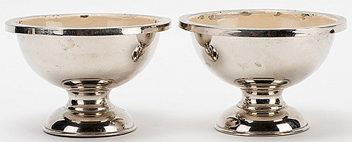 Raymond, Maurice (Morris Raymond Saunders). Rice Bowls. Circa 1915. Rice doubles in quantity when placed in one bowl, then transforms into crystal clear water. Nickel plated bowls with small feet, finished with ivory-colored paint inside. Celluloid