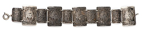 RaymondÍs Silver Chang the Magician Bracelet. First or second quarter twentieth century. An .800 linked silver bracelet stamped with the Panamanian illusionistÍs logo and various Oriental-style characters, given to The Great Raymond by his onetime