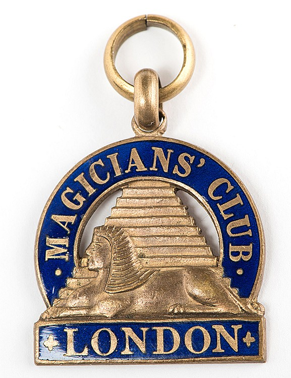 RaymondÍs London MagiciansÍ Club Badge. Circa 1920s. Enameled gold medallion belonging to Raymond as a member of the organization founded by Will Goldston, and whose first president was Harry Houdini. Approx. 1î wide. Sold with RaymondÍs 1917