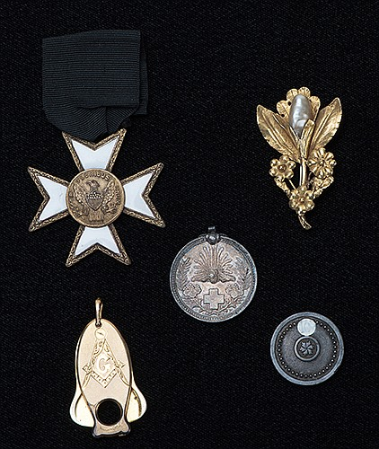 Group of Five of RaymondÍs Medallions, Badges, and Pins. Including a gold-plated Masonic cigarette cutter (R.E. Gay, ca. 1916); an enameled brass Knights Templar badge inscribed E Pluribus Unum (ca. 1920); an antique brass and mother-of-pearl lapel