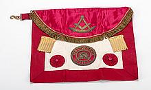 RaymondÍs Scottish Masonic Apron. London, ca. 1900s. Antique sheepskin and satin apron with brass fringe, serpent belt hook, and threaded tassels, embroidered with the emblem of the Scottish Perseverance Lodge No. 338 S.C of which The Great Raymond