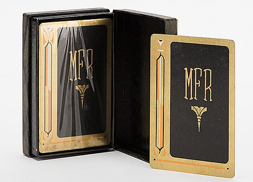 RaymondÍs Personally Monogrammed Playing Cards. Manufacturer unknown, 1935. Backs monogrammed with RaymondÍs initials. Sealed with tax stamp, in paper-covered hinged carrying box.