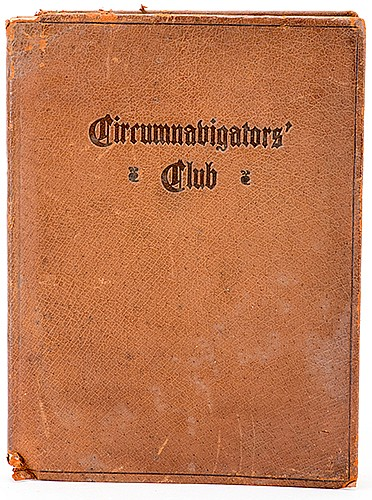 RaymondÍs CircumnavigatorsÍ Club Membership Booklet. New York, 1912. Brown calf wrappers stamped in black. Marbled endpapers. Historiated initials printed in black and green. Illustrated with figures. 12mo. Membership certification leaf signed by