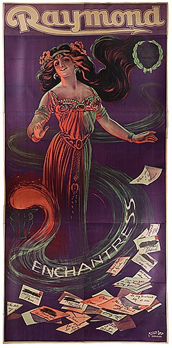 Raymond, Maurice (Morris Raymond Saunders). Enchantress. Birmingham: Moody Bros., ca. 1920. Six-sheet (116 x 57 _î) color lithograph poster depicting an enchantress whose form emanates from the flames of a pedestal. Question slips appearing at her