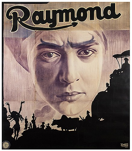Raymond, Maurice (Morris Raymond Saunders). RaymondÍs East Indian Mysteries. London: David Allen & Sons, ca. 1910s. Six-sheet color lithograph depicts RaymondÍs turban-clad disembodied head looming against a silhouette of snake charmers, bulls, a