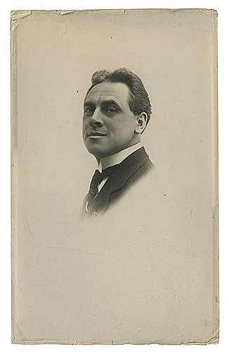 Raymond, Maurice F. (Morris Raymond Saunders). Series of Three Bust Portraits of Raymond. Liverpool: Dobson, ca. 1920s. Fine gelatin silver print bust portraits of the magician in tuxedo. Studio stamps on versos. 11 _ x 7 _î. Edges curled and